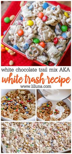 White Chocolate Trail Mix (AKA White Trash) is filled with M Trail Mix Recipes, Snack Mix Recipes, Chex Recipes, Snack Mixes, Candy Recipes, Christmas Snacks, Christmas Cooking, Christmas Candy, Xmas