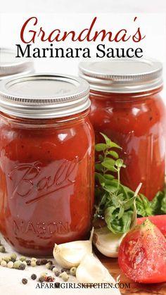 Canning Marinara Sauce, Fresh Tomato Marinara Sauce, Best Marinara Sauce, Canned Tomato Sauce, Canning Pizza Sauce, Canning Vegetables, Canning Tomatoes, Pasta Sauce Recipes, Kitchens