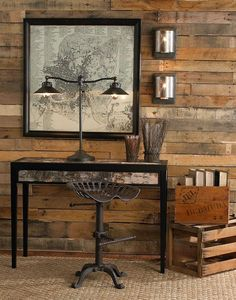 Charming wooden wall, stool and map.