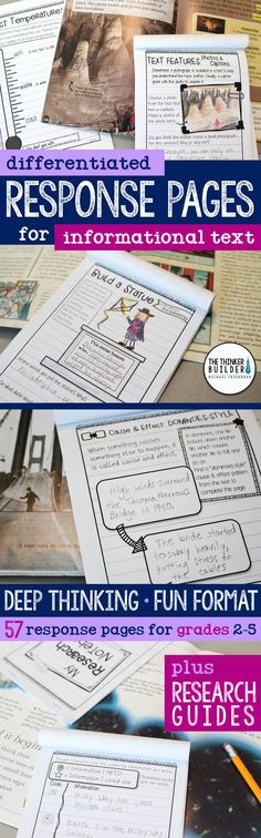 A huge collection of reading response pages to use with any informational text! Designed in an engaging notebook format. Use individually or create custom reader's notebooks for nonfiction comprehension or research. Differentiated at three levels for so m Reading Strategies, Reading Skills, Teaching Reading, Reading Comprehension, Reading Activities, Guided Reading, Teaching Tools, Learning, Teaching Ideas