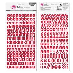#Abecedario de #goma eva color #rojo. Alfabeto formado por 2 hojas con letras minúsculas, números y símbolos. Tamaño hoja: 15x32 cm. Tamaño aproximado de las letras: 1,2 1,6 cm. Libre de ácido y lignina. 339 ud. auto-adhesivas.