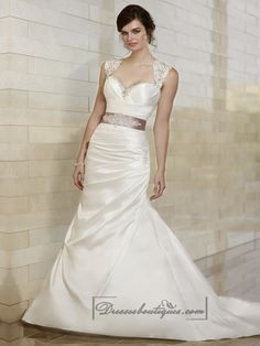 Luxury Beaded Queen Anne Mermaid Wedding Dresses with Keyhole Back