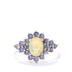 Ethiopian Opal Ring with Tanzanite in 9k Gold 1.61cts