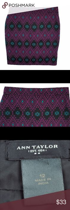 """ANN TAYLOR Aztec Tapestry Pencil Skirt Excellent condition! This black, Violet and turquoise Aztec tapestry pencil skirt from Ann Taylor features a back center zip closure, back center slit and is fully lined. Made of a cotton blend. Measures: waist: 33"""", hips: 41"""", total length: 22.5"""" Ann Taylor Skirts Pencil"""