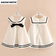 Cheap brand girl dress, Buy Quality girls brand dress directly from China girls dress Suppliers: Baby Bow Girl Dress Sailor Collar 2017 Summer Kids Children Student Wind Dresses Clothing Toddler Princess Brand Quality Frocks For Girls, Kids Frocks, Dresses Kids Girl, Little Dresses, Kids Outfits, Baby Girl Fashion, Kids Fashion, Baby Dress Design, Girl Dress Patterns