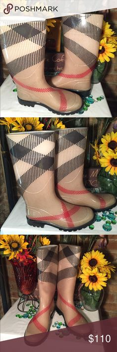 Burberry Nova Check Boots Sz 39- Good condition- No damage- Soles in good shape- Very nice boots. Burberry Shoes Winter & Rain Boots