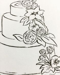 #closeup of sketch #weddingcake #illustration