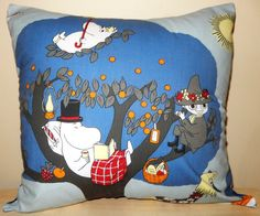 Moomin Fabric Blue Cushion handmade by Alien by AlienCoutureUK