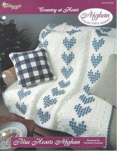 Blue Hearts Afghan Crochet Pattern Afghan by KnitKnacksCreations