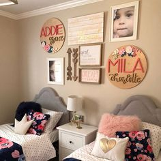 Kid room decor - 16 Diameter Floral Sign Name Sign Custom Sign Wood Cutout Home Decor Flower Cutout Nursery Decor Nameplate Baby gift Sister Bedroom, Twin Girl Bedrooms, Teen Bedroom, Twin Bedroom Ideas, Blue Bedroom, Stylish Bedroom, Little Girl Rooms, Little Girls Room Decorating Ideas Toddler, Kids Decor