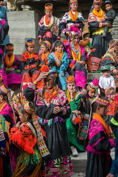 Kalash women and girls at the Grum Village Charso (dancing ground), Kalash Joshi (Spring Festival), Rumbur Valley, Chitral, Khyber-Pakhtunkhwa, Pakistan