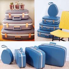 Et ces petites beautés sont parties pour la prochaine pub d'une grande compagnie aérienne... #vintage #lucinevintage #bleu #valises #hotessedelair #stewardess #suitcases #vintageaparis #vintagepub #vintagestyle #vintagelove lucinevintage.com