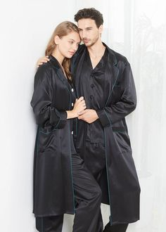 22 momme stylish silk couple robe and pajamas sets Mens Silk Pajamas, Sexy Pajamas, Cute Pajamas, Pajamas Women, Silk Sleepwear, Sleepwear Women, Matching Couple Pajamas, Color Combinations For Clothes, Silk Nightgown