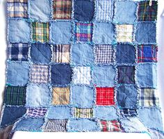 Denim rag quilt tutorial - this is a PDF tutorial for you to make your own denim rag quilt. A great way to recycle old jeans, and other fabrics. You can customise this is so many ways, to give you a unique, beautiful, hard wearing quilt which is just right for you. The tutorial is a