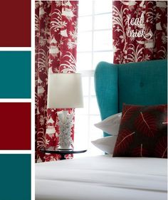 I kinda like this. Something different. Red and Teal accent bedroom color scheme....with white for background