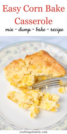 Super simple delicious Corn Bake Casserole side dish. Sweet corn, creamy most cornbread texture. Your family will love this mix, dump and bake side dish at every party and holiday dinner. New Recipes For Dinner, Thanksgiving Dinner Recipes, Dinner Recipes Easy Quick, Holiday Dinner, Holiday Recipes, Thanksgiving Sides, Easy Dinners, Holiday Fun, Dinner Ideas