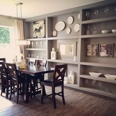 Painted built-ins with white china. #nicestatement