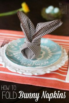 How To Fold Adorable Bunny Napkins!  Perfect for you Easter table.  From Our Best Bites.