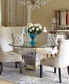 Marais Dining Room Furniture Collection, Mirrored $299.00 Bold shapes, defined designs and regal silhouettes usher elegance into your space. Strong attention to detail, like tufting, antique silver accenting and a striking glass tabletop, creates a sophisticated statement. Please select a specific furniture piece or set for more information.