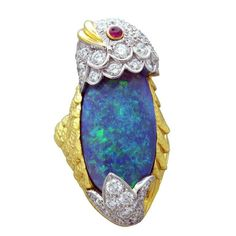 Rare David Webb Black Opal Diamond Ruby 18K Gold Platinum Ring in Jewelry & Watches, Vintage & Antique Jewelry, Fine | eBay