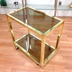 Brass and Smoked Glass Serving Cart