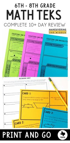 Texas Teachers use this COMPLETE review to organize your math STAAR review to best suit your students needs. All of the tested standards are included.  This file is jam packed with teacher guides, warm ups, cheat sheets, class activities, and 8-10 question mini assessments. Aligned to the revised TEKS and ready to help you math your math STAAR review a breeze!  Perfect for 6th grade math, 7th grade math, and 8th grade math teachers.