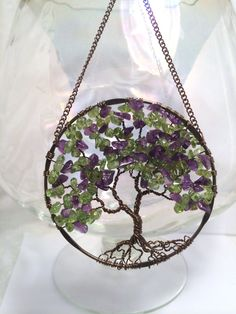 SunCatcher Tree of Life - Amethyst and Peridot on Bronze Wire Wrapped Tree - Sun Catcher Window Wall Ornament Handmade Gemstones