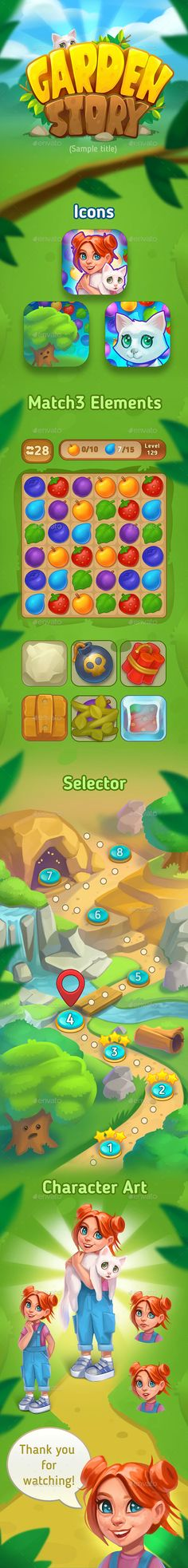 Match3 Game Art Assets by nadya_ko | GraphicRiver Application Icon, Game Icon, Game Assets, Game Logo, Marketing Materials, Kittens Cutest, Game Art, Logo Design, Concept