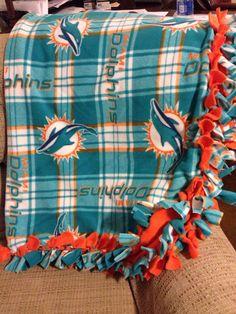 Miami Dolphins Blanket  NFL Fleece Fringe by BlanketsUnlimited