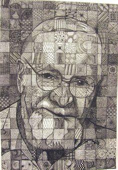 Slikovni rezultat za Chuck Close Inspired Grid Drawing