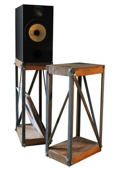 KONK Oak/Steel Industrial Speaker Stands PAIR by KONKfurniture