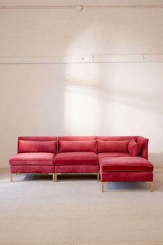 Velvet Sectional Sofa Pink