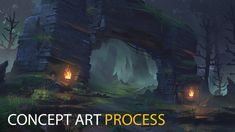 Forest Ruins: Concept Art Process by Jordan Grimmer New Fantasy, Dark Fantasy Art, Fantasy World, Environment Concept Art, Environment Design, Fantasy Art Landscapes, Fantasy Illustration, Process Art, Art Background