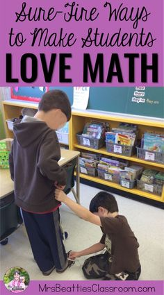 """From hands-on tasks with manipulatives and """"scooting"""" around the classroom to math games and task cards, this post is full of sure-fire ways to make your primary students love math!"""