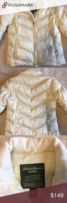Eddie Bauer off white down jacket!! LIKE NEW! Perfect transition into spring coat! 100% authentic Eddie Bauer down coat. Super warm! From a pet free smoke free home!! Eddie Bauer Jackets & Coats Puffers