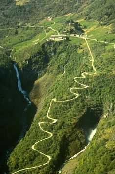 Stalheimskleiva Road, Norway. With its 13 hairpin turns, through steep mountainsides and waterfalls, it's one of Northern Europe's most fascinating, and steepest, drives. (V)
