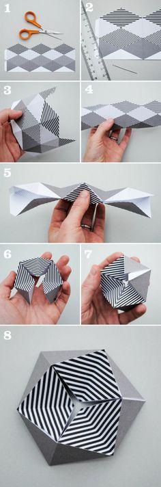 tuto de pliage papier en quelques étapes pour faire une fleur kaléidoscope hexagone en papier