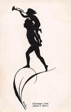 DIEFENBACH: GOTTL JUGEND II BL 8 SILHOUETTE POSTCARD 1920 CHILD BLOWING HORN