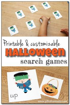 A set of 6 free and fully customizable Halloween search games that you can use to teach letters, numbers, shapes, colors, sight words, math facts, & more! #Halloween #freeprintables || Gift of Curiosity