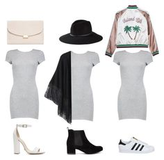 """""""Bodycon T-Shirt Dress 3 Ways"""" by gigi-rose113 ❤ liked on Polyvore featuring Boohoo, adidas, Express, Relaxfeel, Schutz and Mansur Gavriel"""