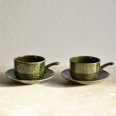 Retro Green Soup Bowl with Handle