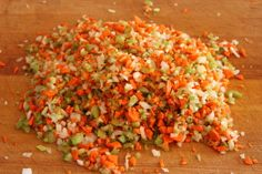 Finely chop carrots, celery, onion & green pepper.  Freeze in zip bags.  Sauté in butter and  add to EVERYTHING.