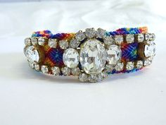 Multi colour vintage rhinestone friendship bracelet by jadorebling, $70.00