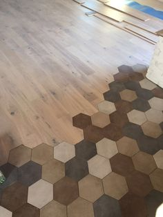 36 Marble Tiles Meeting the Wooden Floor - Wood Parquet Floor Design, Tile Design, House Design, Hexagon Tiles, Marble Tiles, Tiling, Wooden Flooring, Kitchen Flooring, Flooring Ideas