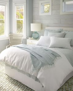 Linen bedding keeps you cool in the summer and gets softer and softer the more you wash it. Pair this Sky Linen Quilt from Pine Cone Hill with a classic white comforter and sheets and you'll feel like your sleeping on a cloud! decor ideas for women Modern Bedroom, Home, Luxurious Bedrooms, White Comforter, Bedroom Decor, Coastal Bedrooms, Small Bedroom, Bedroom Colors, Coastal Bedroom
