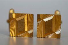 vintage cufflinks / french gold tone metal dandy by BOULOTDODO