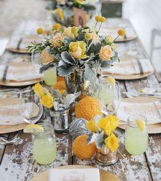 Rustic Yellow Beach Table Setting (love the balls of yarn!)