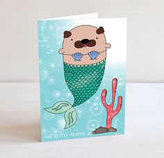 I have combined two of my favourite things - Mermaids and Pugs in this adorable greetings card. The Little Merpug swims happily in a sparkly sea,