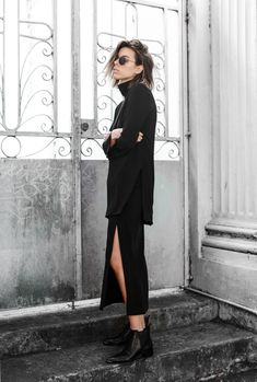 Ellery high neck top, split midi skirt, Acne Jensen boots, modern legacy