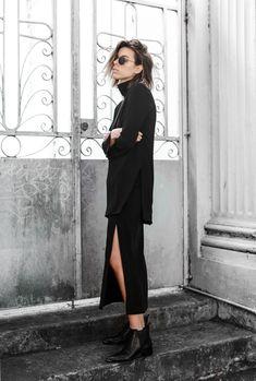 Ellery high neck top, split midi skirt, Acne Jensen boots, modern legacy